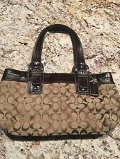 Coach Signature Tote Tan And brown With Brown Patent Leather Trim