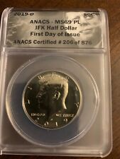 2019 D Mint State Kennedy Half Dollar ANACS MS69 PL, First Day of Issue