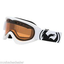 New Dragon Alliance DX Snow Ski Black Goggles Powder White Frames/ Amber Lens