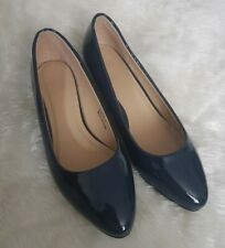 Navy Patent Wedge Heel Shoe Size 6E uk