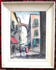 EUROPEAN VILLAGE STREET SCENE Signed Painting