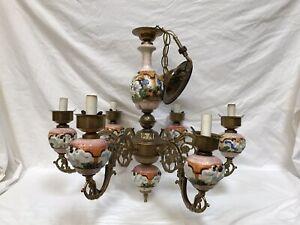 Capodimonte Made In Italy Chandelier 6 Light Cherub Porcelain Vintage