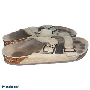 Men's Birkenstock Arizona Taupe Beige Suede Soft Footbed Slide Sandals 46/13