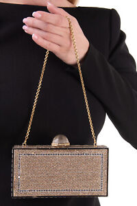 RRP €3795 JUDITH LEIBER COUTURE Crystals Clutch Bag HANDCRAFTED Chain Strap