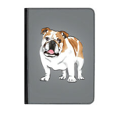 "British Bulldog Dog Puppy Grey Universal Tablet 7"" Leather Flip Case Cover"