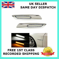 PAIR FOR BMW E60 E61 520 523 525 LED MARKER INDICATOR LIGHT DRL SILVER CHROME