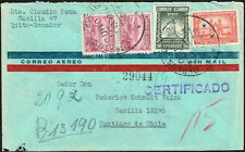 539 ECUADOR TO CHILE REGISTERED AIR MAIL COVER 1944 QUITO  SANTIAGO