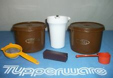 Tupperware BROWN Coffee Tea Canisters ~Cream Creamer ~Scoop Spoon ~Handy Keeper