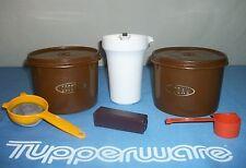 Tupperware BROWN Coffee Tea Canisters ~Cream Creamer ~Scoop Spoon ~Handy Keeper