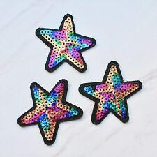 Rainbow Sequin Star Glitter Iron on embroidered patch. Blogger/DIY/ denim jacket