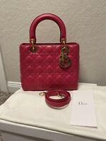Lady Dior Hot Pink Lambskin Leather Medium Bag Gold hwd 100% Authentic
