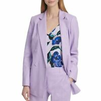 DKNY NEW Women's Double-breasted Linen-blend Lined Blazer Jacket Top TEDO