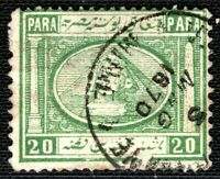EGYPT Stamp 20 Para Sphinx & Pyramid 1870 CDS Cancel Used ex Collection LGREEN5