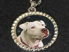 """Dog Pit Bull White Charm Tibetan Silver with 18"""" Necklace BIN A"""