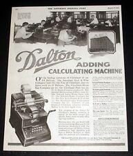 1919 OLD MAGAZINE PRINT AD, DALTON ADDING-CALCULATING MACHINES, DO FIGURE WORK!