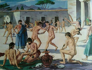 Vintage Poster - Preparing for the Olympic Games - Nude Males - Gay Interest