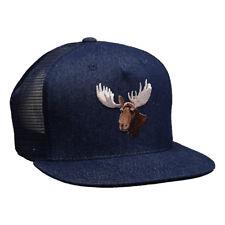 Moose Head Trucker Hat by LET'S BE IRIE - Blue Denim Snapback