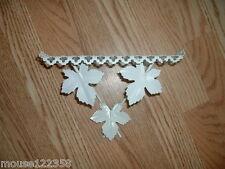 Vintage Metal  Shelf  Retro Eames Era  white colored leaf design small cute