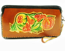 Genuine Leather Handmade Wallet purse coin porch Womens ladies w/ zipper Brown