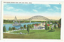Cape Cod Canal MA New Bourne Bridge Vintage Postcard