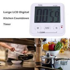 DC 100 Large LCD Digital Kitchen Cooking Timer Clock Loud Alarm Magnetic White