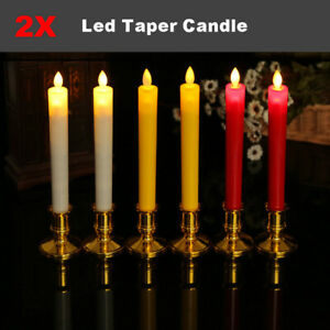 2x Flickering Moving Wick Flameless Led Taper Candle with Remote 3 Type