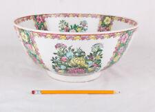 "Large 12"" Japanese Porcelain Bowl Hand Painted In Japan w Gold Leaf"