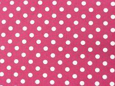 Cerise Pink/White 1/4inch POLKA DOT COTTON fabric poplin craft dress spots 1m