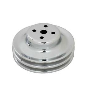 Mr Gasket 8831 Chrome Water Pump Pulley, 1965-66 SBF, Double Groove