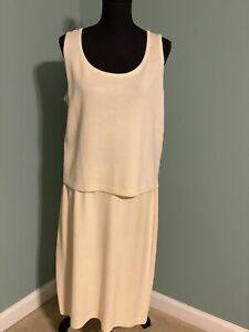 ST JOHN KNITS Collection Ivory Cream 2 Piece SHELL Top & SKIRT Suit Size L, 16
