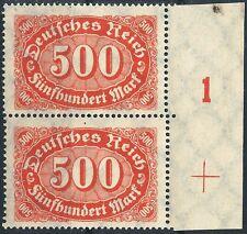 """MiNr. 251 im Paar vom rechten Seitenrand mit Paßerkreuz + PlNr. """"1"""" postfrisch"""