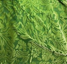 """Hand Dyed Burnout Silk VELVET Fabric APPLE GREEN FLORAL 54"""" by the yard"""