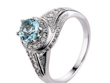 Round Cut 925 Sterling Silver Aquamarine Whirlwind Engagement Ring  -#W6-142
