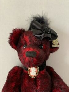 """Annette Funicello Bear Miss Kitty Red Mohair Jointed 12"""" Cameo Feather Bow"""