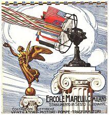 PUBBLICITA' 1914 MAGNETI MARELLI VENTILATORE BANDIERE VITTORIA ALATA STROPPA