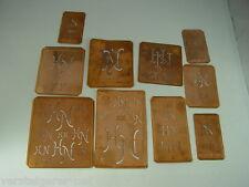 10 x HN alte Merkenthaler Monogramme, Kupfer Schablonen,Stencils,Patrons broder