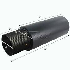 """JDM 4"""" N1 Carbon Fiber Tip Matte Black Muffler 2.5"""" Inlet +Silencer For SUBARU"""