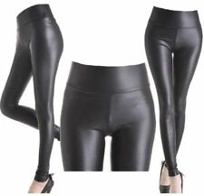 ^^^^^BLACK  HIGH WAISTED WET LOOK LEGGINGS SIZE X=SMALL - BNWT^^^^^