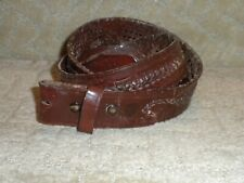 Vintage Tooled & Laced Brown Leather Belt Woven Scorpion Western Hippie Boho