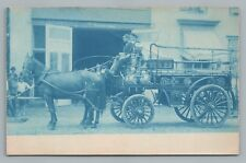 Horse-Drawn Fire Engine—Antique RPPC Department Truck Cyanotype (Crease) <1908