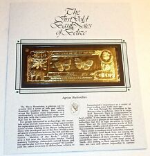 """BELIZE 22K GOLD $10 """"AGRIAS BUTTERFLIES"""" FIRST BANK NOTE~NEW on ORIG CARD~2.1G!"""
