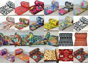 Indian Handmade Twin 100% Cotton Bed Cover Cotton Kantha-Blanket-Quilt-Throw