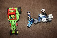 Playmobil green Race Car with Driver, Police figures with Motorcycle Bicycle