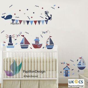 Nautical Sail Boat / Ship /Anchor/ Whales/ Flag Nursery Baby Wall Decal Sticker
