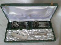 SERVICE DESSERT  DEETJEN métal argenté 12 fourchettes 1pelle à FILETS
