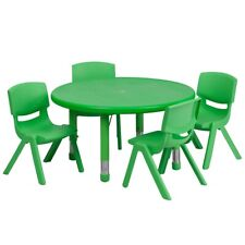 "Flash 33"" Round Adjust Green Plastic Activity Table Set w/4 School Stack Chairs"