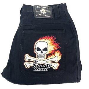 Vintage Johnny Blaze Black Baggy Hip-Hop 90's Style Jeans Size 36