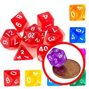 7 Dice Poly Set - MINI Dice (Select Colour) - Tiny Small D20,D12,D10 D&D RPG
