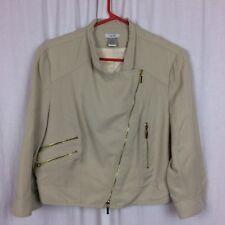 Cashe' Jacket Motorcycle 3/4 Sleeve Beige Fabric SIze L Bolero