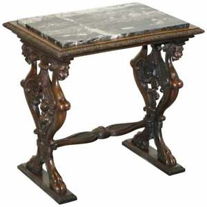 ITALAIN CIRCA 1840 ORNATELY HAND CARVED OAK SIDE TABLE WITH SOLID MARBLE TOP